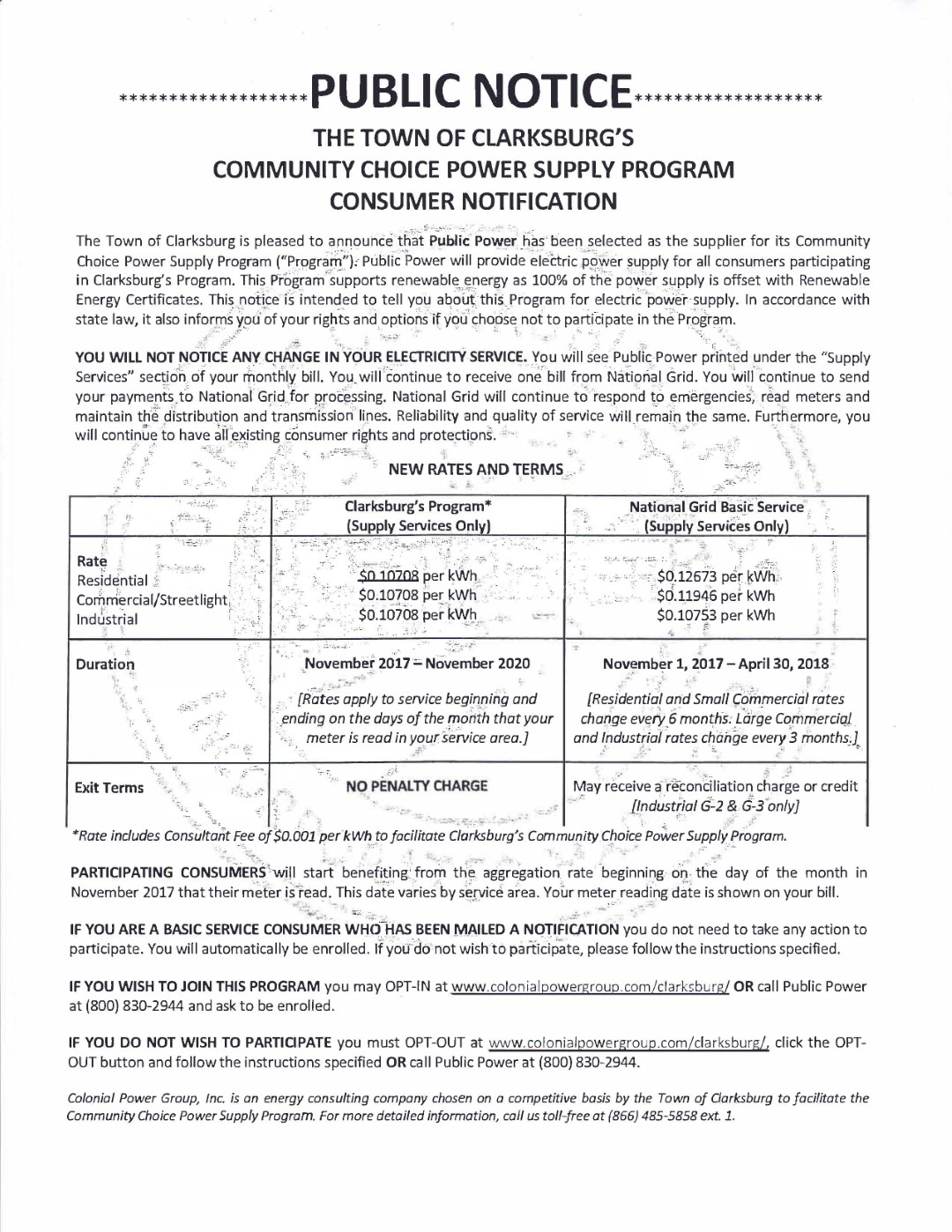 Information about the Community Choice Power Supply Program, downloadable pdf below.